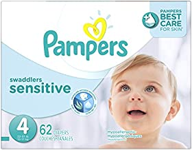 Diapers Size 4, 62 Count - Pampers Swaddlers Sensitive Disposable Baby Diapers, Super Pack