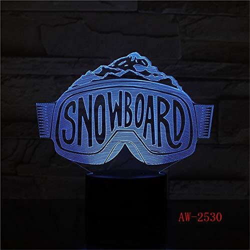 3D Tischlampe 7 Farben Nachtlicht Heimtextilien Farbe Ski Spiegel Form Farbverlauf Tischlampe Nacht Snowboard Schlaf Mode Tischlampe Musik Tischlampe