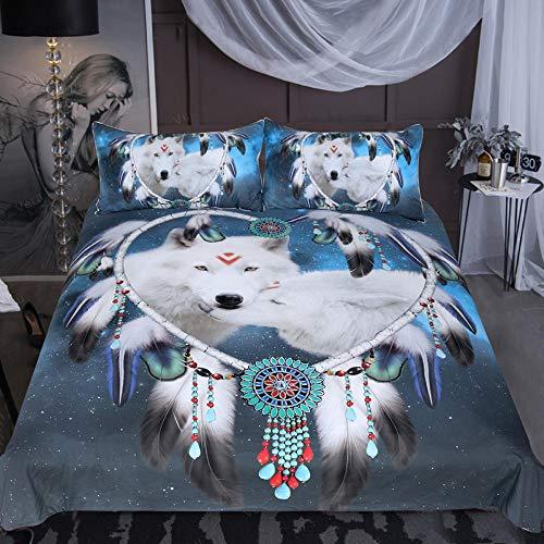 Juego de Cama Wolf Dream Catcher de 3 Piezas con diseño de Lobos Blancos, Funda nórdica Azul para Parejas (tamaño King)-2_Los 228 * 264cm
