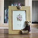 VIM Creative Cute Bear Decor Resin Photo Frames For Home Decor Desktop Picture Frame Frames,Red,6 Inch