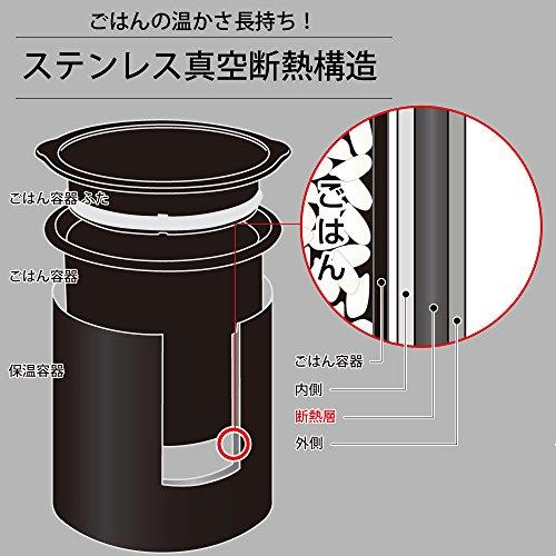 和平フレイズ弁当箱ごはんおかずフォルテック・ランチ640mlブラックスリムタイプ保温ケース付FLR-8161