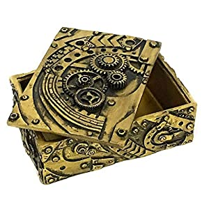 Bellaa 23158 Jewelry Box Steampunk Trinket Pirate Treasure Chest Mechanical Gears Industrial Figurine Steam Punk Storage Container With Lid Futuristic Art 5 inch