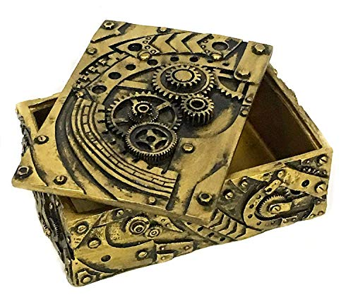 Bellaa 23158 Steampunk Trinket Jewelry Box Mechanical Figurine 5 inch 3