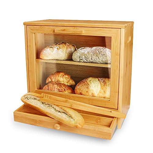 IFELES KITCHEN Large Bread Box: Bamboo BreadBox with Clear Front Window - Farmhouse Style Bread Holder for Kitchen Counter - Double Layer Bread Storage Bin and a drawer -free Bread clip(Self-Assembly)