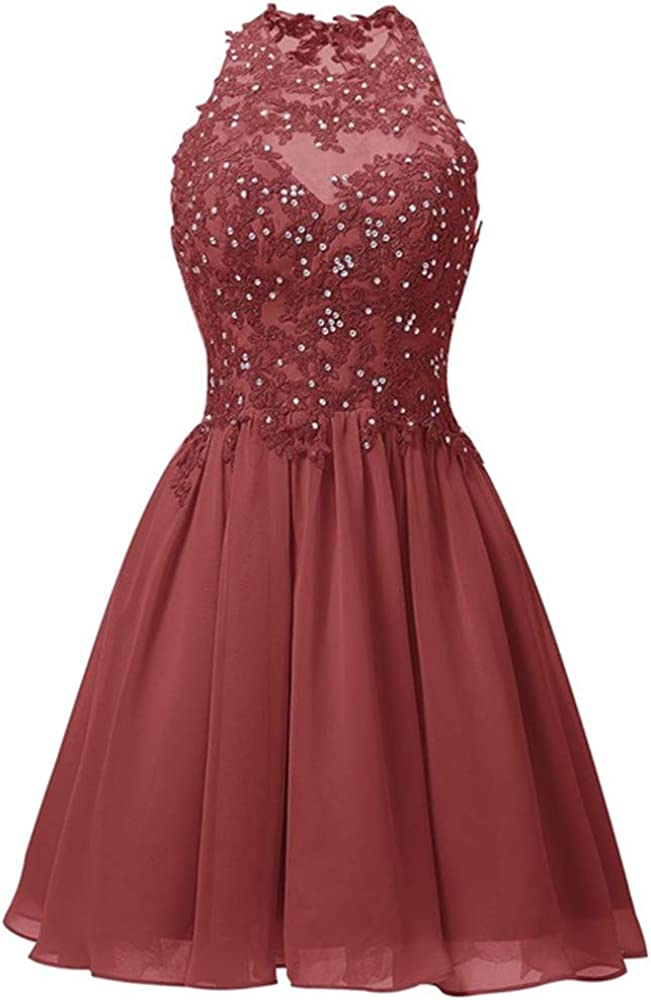 Huifany Women's Short Chiffon Homecoming Dresses Backless Prom Cocktail Party Gowns