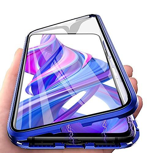 Cover per Huawei P30 Lite, Custodia Adsorbimento Magnetico Vetro Temperato Caso per Huawei P30 Lite New Edition CaseLover 360 Gradi Protettiva Flip Cover con Metal Bumper Magnetico Case, Blu