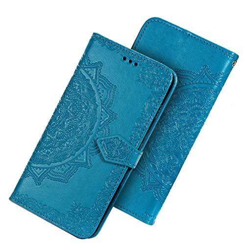 HAOTIAN Hülle für Huawei Honor 9A/Play 9A Hülle, Mandala Geprägtem PU Leder Magnetische Filp Handyhülle mit Kartensteckplätzen/Standfunktion, [Anti-Rutsch Abriebfest] Schutzhülle. Blau