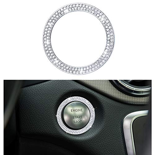 1797 Compatible W205 C117 X156 X253 C CLA GLA GLC Class Engine Start Stop Ignition Push Button Caps Mercedes Benz Accessories Parts Bling Covers Decals Interior Decoration AMG Women Men Crystal Silver