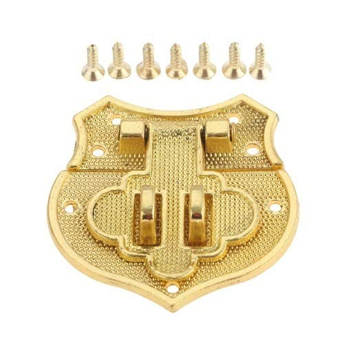 Use Metal Decorative Buckles Inside and Outside Retro Bronze/Gold Heart Buckle Box Hasp Lock Catch Latches for Jewelry Box Suitcase Antique Padlock Furniture Hardware 40 * 40mm (Color : B)