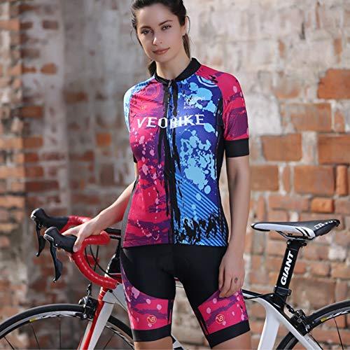 Maillot Ciclismo Corto De Verano para Mujer Rojo Y Azul Ropa Culote...