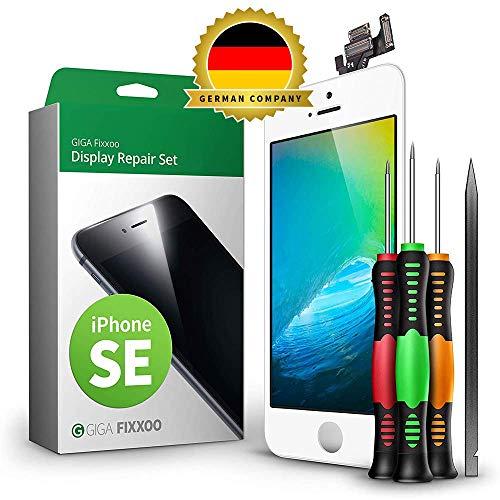 GIGA Fixxoo Display Set kompatibel mit iPhone SE, Reparaturset Komplett Weiß, Ersatz Bildschirm, Retina LCD Glas mit Touchscreen, inkl. integrierte Frontkamera & Werkzeug