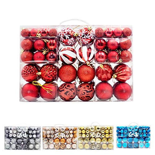 Christmas Ball Ornaments Kits for Tree, Garland, Yard and Party Decorations, Shatterproof and Large Sets, Best Gift Ideas, 100 pcs in 8 Types (Red)