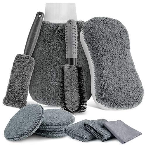 Auto Autopflege Reinigung Set 10,Mopalwin Reinigungs Set Mikrofaser Auto Detaillierung Waschen Werkzeuge, Autowasch Handtücher, Autobürsten, für Auto Motorrad Innen und Außen Haushalt Reinigung
