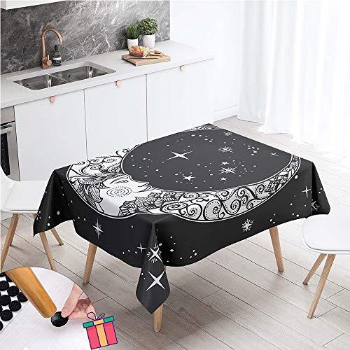 Enhome Boho Impermeable Mantel Mesa Rectangular Tela, Antimanchas Lavable Manteles Square 3D Estilo Exótico Manteles para Cocina o Salón Comedor Decoración del Mesa (Boho Moon,100x140cm)