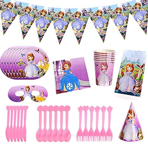 CYSJ Princess Cumpleaños Vajilla Decoraciones, 50 Piezas Party Suministros,para Fiestas Princesa Desechable Vajilla de Cumpleaños,Vajilla de Fiesta TemÁTica de Princesa Sofia