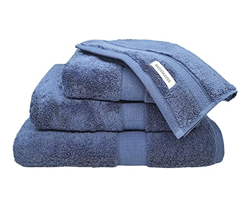 Bademayer Prestige Fusselfreis Frottier XL Badetuch Handtuch Duschtuch Gästetuch - 4er Set aus 100% Ägyptischer Gekämmter Baumwolle - 600 g/m² (Stahlbalu)