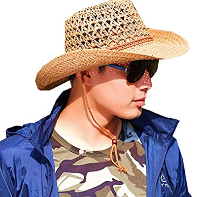 Foldable Cowboy Hat Shapeable Wide Brim Sun Protection Straw Hats Adults /Kids Spring Summer Anti UV Sun Hat Travel Beach Cap Western Cowgirl Hats Bush Hat for Women,Men,kids Camping,Fishing,Hiking