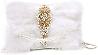 Ladies Clutch Party Banquet Wedding Bag Fashion Mini Handbag Wallet Diamond Chain Shoulder Bag Pearl Luxury Feather women Handbag