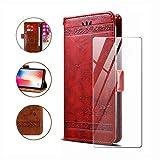 HYMY Hülle für Nokia 1 Plus - Retro Elegant + Schutzfolie PU Leder Flip mit Brieftasche Card Slot Handyhülle Case Lederhülle für Nokia 1 Plus (5.45