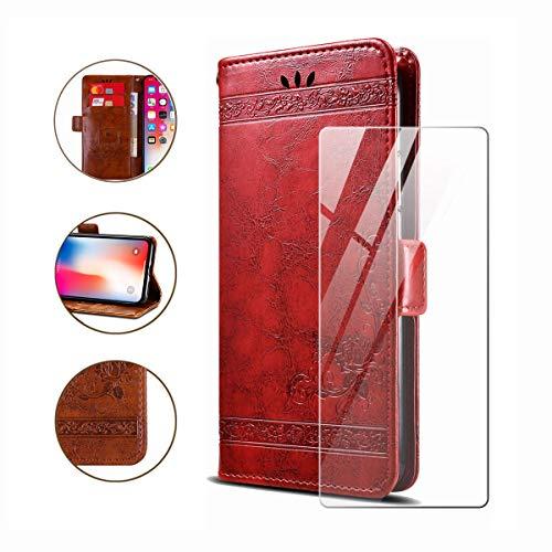 """HYMY Hülle für Nokia 1 Plus - Retro Elegant + Schutzfolie PU Leder Flip mit Brieftasche Card Slot Handyhülle Case Lederhülle für Nokia 1 Plus (5.45\"""") - Rot"""