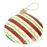 Silamo Diskuss-Kugel, weiß mit roten und grünen Streifen, H 18 cm