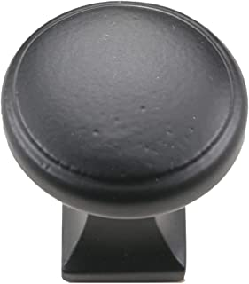 "Iron Valley - 1-1/8"" Round Square Cabinet Knob - Pack of (10) - Solid Cast Iron"