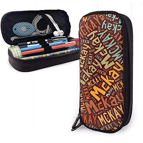 McKay - Estuche de lápices de cuero de gran capacidad de apellido americano, lápiz, lápiz, papelería, organizador, lápiz de maquillaje escolar, bolsa de cosméticos portátil