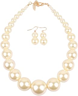 Large Style Big Imitate Pearl Strand Choker Necklace with Earrings Set