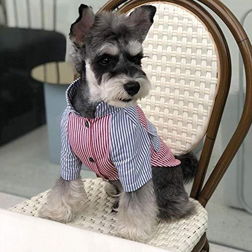 APOLK Frühling Sommer Hundehemd Mode gestreifte Kurzarm Cooles bequemes Baumwollhemd Universelle Hundekleidung Für die meisten Hunde, Blauer Roter Streifen, L.