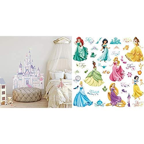 RoomMates Disney Princess Castle Peel and Stick Giant Wall Decal and RoomMates Disney Princess Royal Debut Peel and Stick Wall Decals