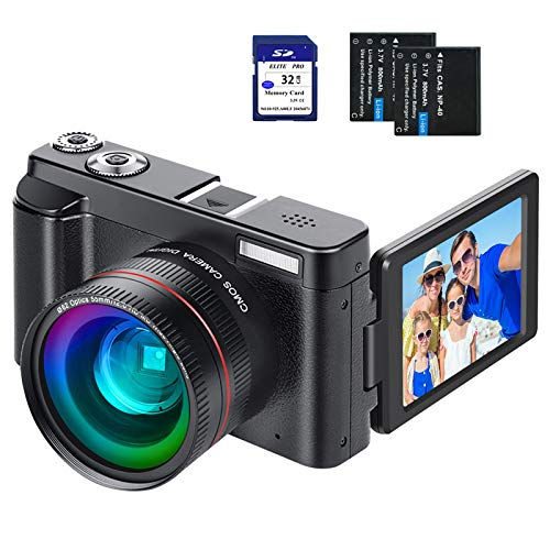 """Digital Vlogging Camera YouTube Vlog Camera HD 1080P 30FPS 24MP Camcorder with 3.0"""" IPS Flip Screen, WiFi Function, Wide Angle Lens,16X Digital Zoom, 32GB SD Card, 2 Batteries"""