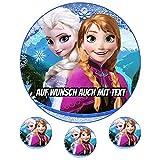 Tortenaufleger aus Zuckerpapier - Tortenbild Geburtstag Tortenplatte Zuckerbild Motiv: Frozen Anna & Elsa