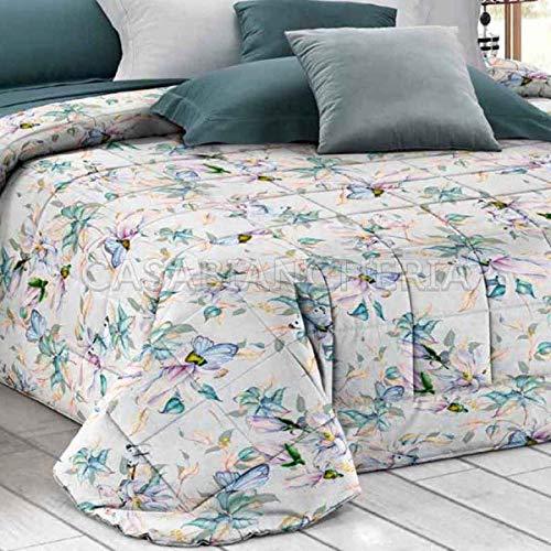 GFFerrari Colcha acolchada para cama de matrimonio Prestige Mariposas Verde Agua