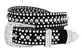 Women Rhinestone Belt Fashion Western Cowgirl Bling Studded Design Suede Leather Belt 1-1/4'(32mm) wide (Crystal, 34'' M)