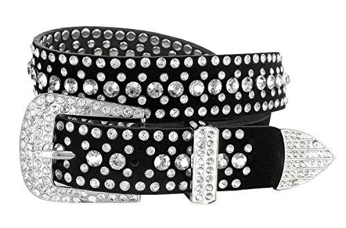 "Women Rhinestone Belt Fashion Western Cowgirl Bling Studded Design Suede Leather Belt 1-1/4""(32mm) wide (Crystal, 40'' XXL)"