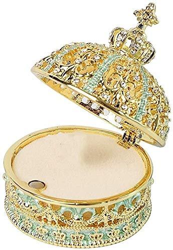 JISHIYU - Q - Joyero con diseño de corona, caja de joyería, regalo de Navidad, cumpleaños, boda, anillo de propuesta, caja de almacenamiento para regalo de joyería decorativa (color azul)