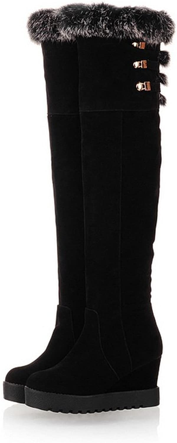 QueenFashion Women's Frosting Wool Lining Wedge colorant Match Thigh-High Boots with Metalornament
