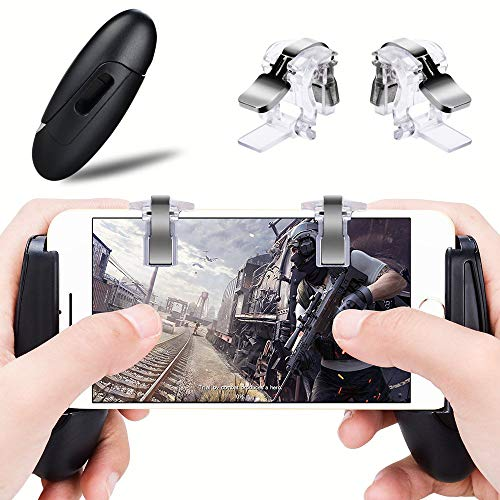 PUBG Contrôleurs de Jeu Mobiles Gamepad Qoosea Sensitive Shoot Aim Joysticks Boutons physiques L1R1 Design Ergonomique Handgrip Jeu Déclencheurs pour Couteaux Out Règles de Survie