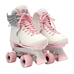 ADJUSTABLE: Perfect roller skates for growing kids who love to skate! Features an easy push button with adjustable sizing to accommodate growing feet DURABLE: Reinforced figure style boot with durable synthetic leather construction and removable lace...