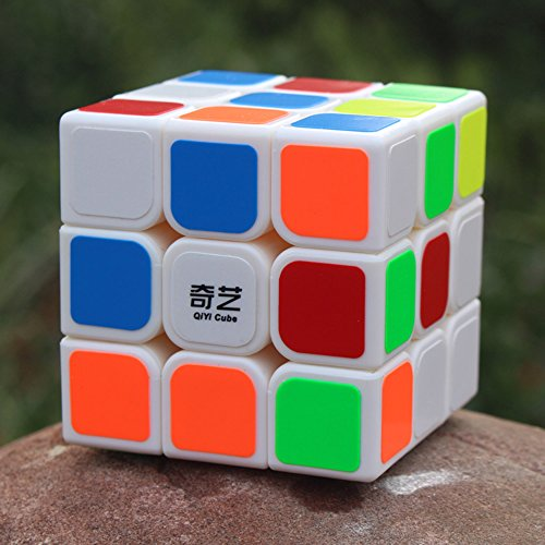 EasyGame-Qiyi Warrior W 3x3 Speed Cube Stickerless Magic Cube Rompecabezas (Blanco)