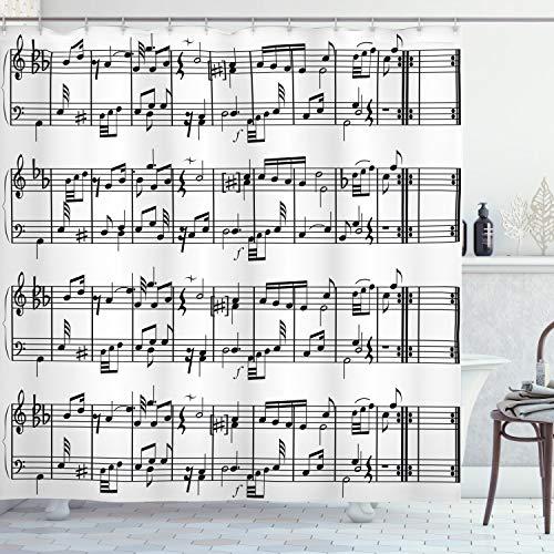 ABAKUHAUS Musik Duschvorhang, Hinweise zum Notenschlüssel, mit 12 Ringe Set Wasserdicht Stielvoll Modern Farbfest & Schimmel Resistent, 175x180 cm, Weiß & Schwarz