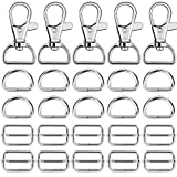 purse parts - Hysagtek 60 Pcs Metal Keychain Bulk - Swivel Snap Hooks, D Ring and Slide Buckle Triglide for Handbag Purse HardwareFasteners, Strap, Backpack DIY Craft Accessories, 1 Inch, Silver