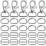 Hysagtek 60pezzi di metallo Keychain Bulk–girevole moschettoni, anello a D e scorrevole fibbia Triglide per borsetta Hardwarefasteners, tracolla, zaino DIY Craft Accessories, 2,5cm, argento