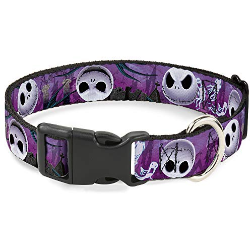 Buckle-Down Plastic Clip Collar - Jack Expressions/Ghosts in Cemetery Purples/Grays/White - 1