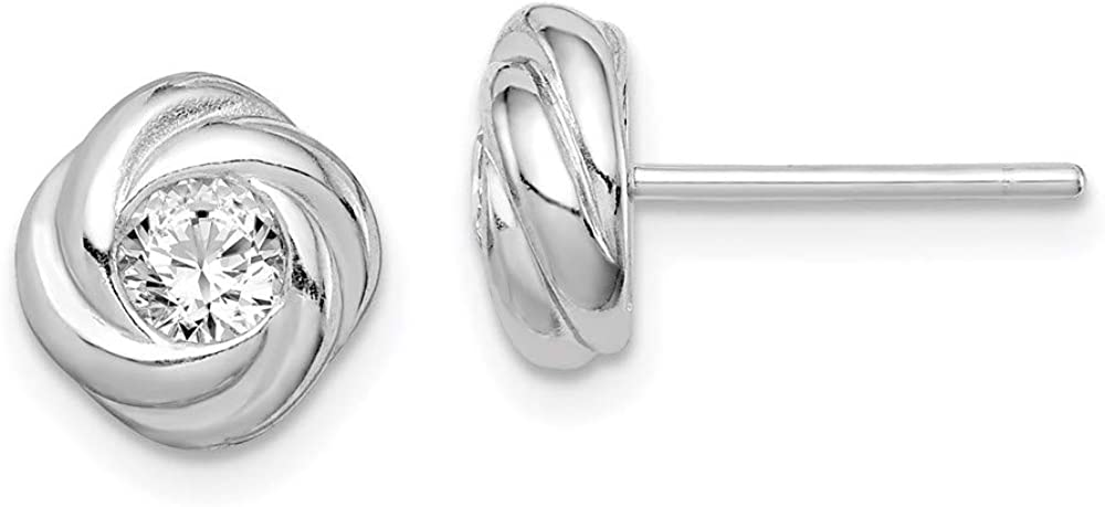 Cheap sale Sterling Silver Cubic Post Earrings OFFicial store Zirconia