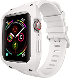 Lontect Compatible Apple Watch Series 4 44mm Case with Soft Silicone Sport Band Full Body Protective Rugged Shockproof Case for Apple Watch Series 4 44mm, White