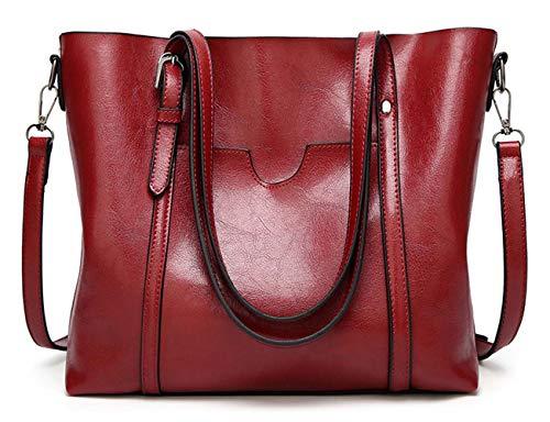 PYSBSL Women's Vintage Style Soft Leather Work Tote Large Shoulder Bag (Wine red)