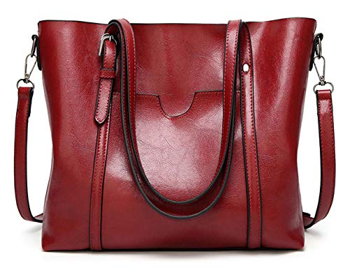 PYSBSL Women's Vintage Style Soft Leather Work Tote Large Shoulder Bag (Wine red)