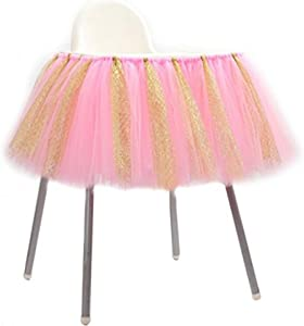 URSMART Creative Handmade Glitter Soft Tulle Tutu Skirt High Chair Decoration for Baby Birthday Party Baby Shower (Pink) … (Pink)