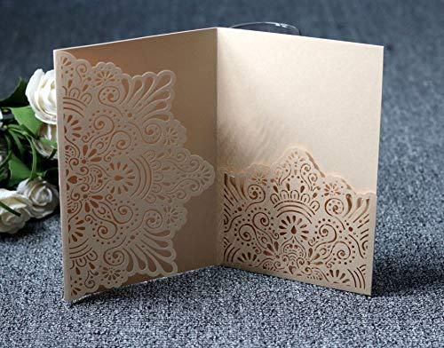 NINESH 50PCS European Business Hotel Invitación Hueca Invitación láser Invitación de Boda de Plata Tarjeta de felicitación navideña, Champaña